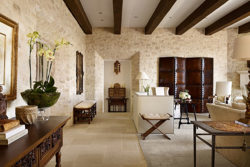 """Inside the design took on a more personal perspective. """"They had a lot of Spanish antiques but did not want it to look like a period house,"""" says Marcus."""